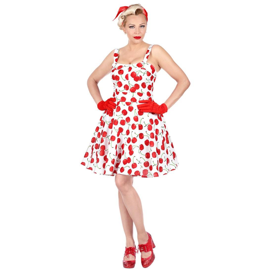 50Er Jahre Rockabilly Kleid Mit Kirschen Für Frauen Weiß