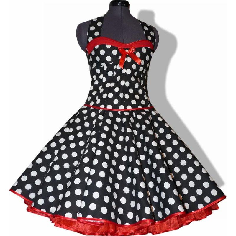 50Er Punkte Kleid Zum Petticoat Schwarz Weiße Punkte Rote