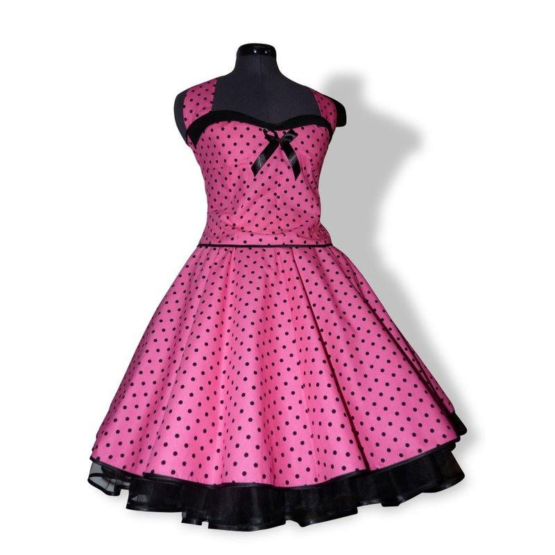 50Er Punkte Korsagenkleid Pink Kleine Schwarze Tupfen