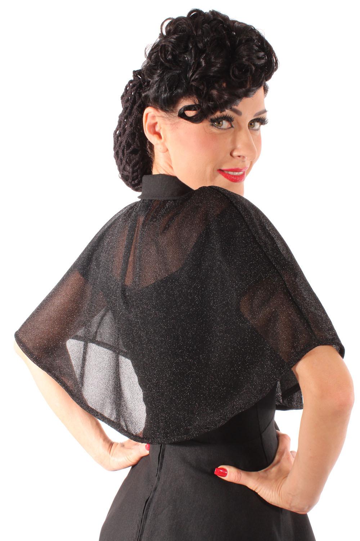 50Er Rockabilly Carmen Petticoatkleid Glitzer Cape Umhang