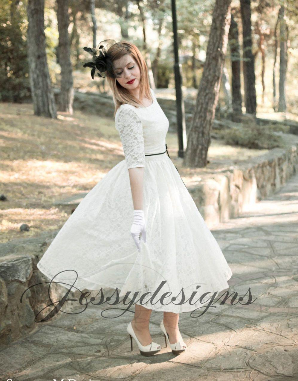 50Erjahre Weiß Spitze Brautkleid Schwarz Dünne Gürtel