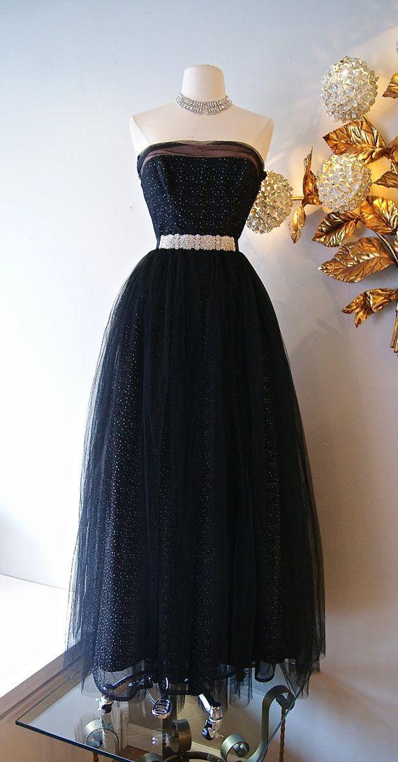 50S Dress // Vintage 1950S Prom Dress Strapless Von