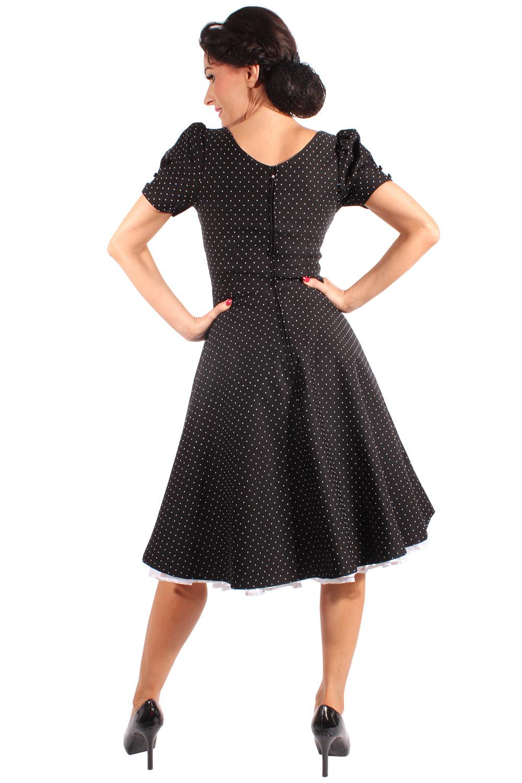 50S Rockabilly Swing Kleid Polka Dots Puffärmel