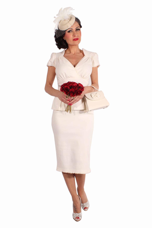50S Schößchen Rockabilly Pencil Kleid Brautkleid