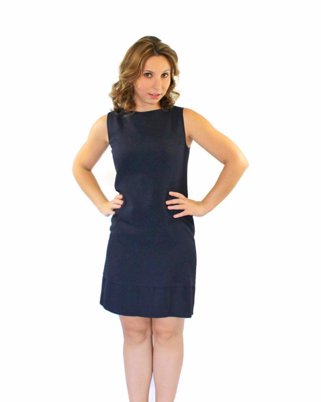 60Er Jahre Dunkel Blauen Kleid Mod Kleid Marineblau Pink
