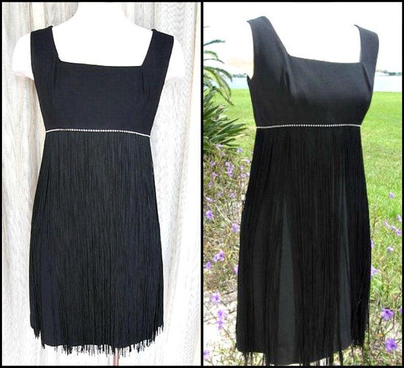 60Er Jahre Fransen Kleid / Fransen Lbd / Passt Xss / 60 S