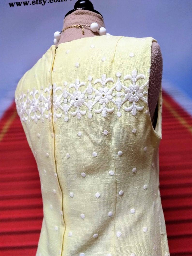 60Er Jahre Gelb Schicht Kleid Von Parkshire Original  Etsy
