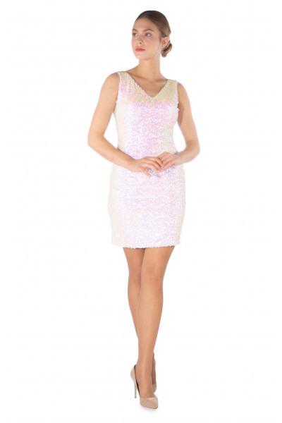 6Ixty8Ight Kurzes Ecru Kleid Mit Vausschnitt Und Pailletten