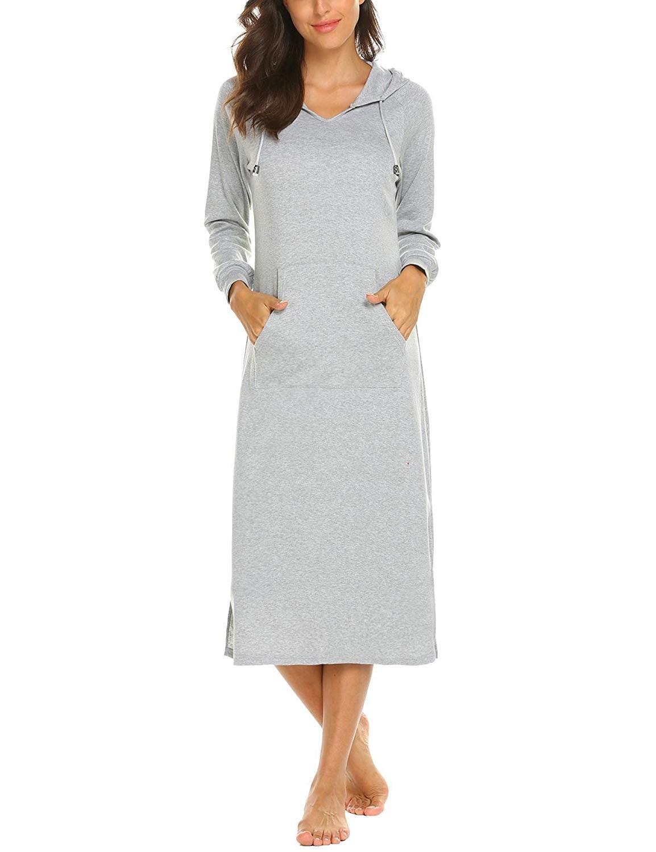 899€  Damen Nachthemd Kleider Langarm Elegant Kleid