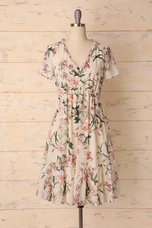 A Line V Neck Short Sleeves Floral Boho Midi Dress