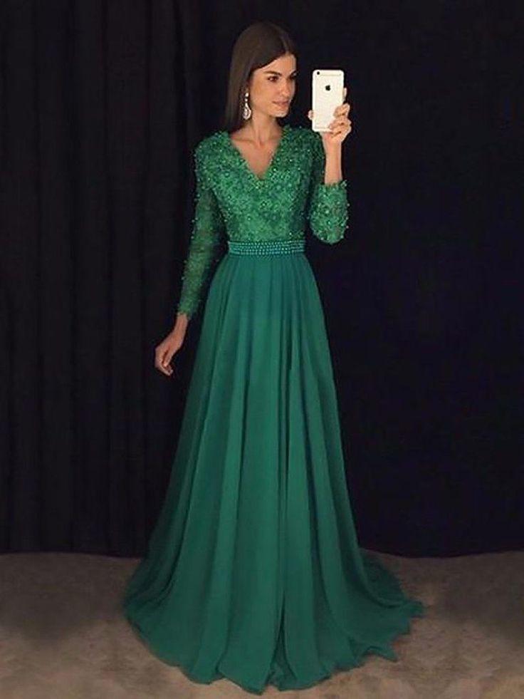 A Line Vausschnitt Smaragdgrün Langarm Abendkleid Grünes