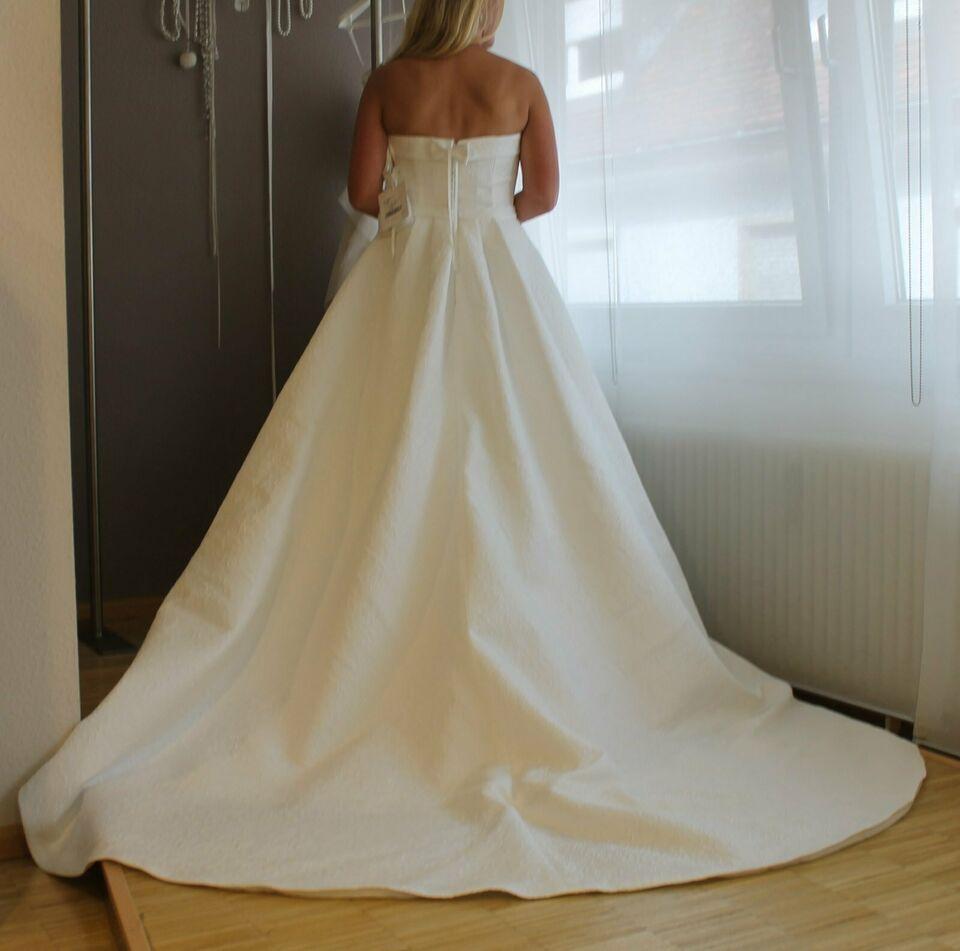 A Linie Hochzeitskleid Damast Weiß Gereinigt Elegant Kein