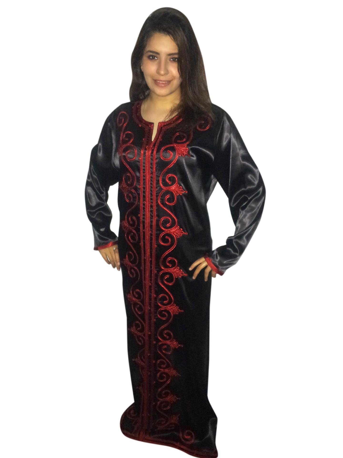 Abaya Schwarzrot Egypt Bazar Shop Für Orientalische