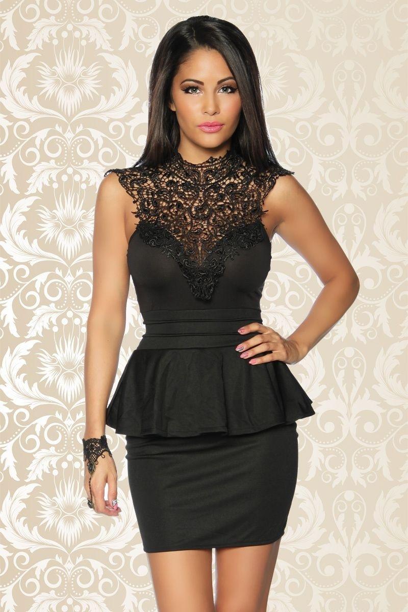 Abend Fantastisch Schwarzes Kurzes Kleid Mit Spitze