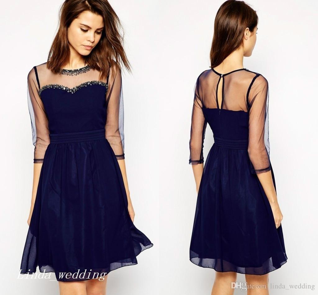 Abend Luxurius Dunkelblaues Kurzes Kleid Boutique  Abendkleid