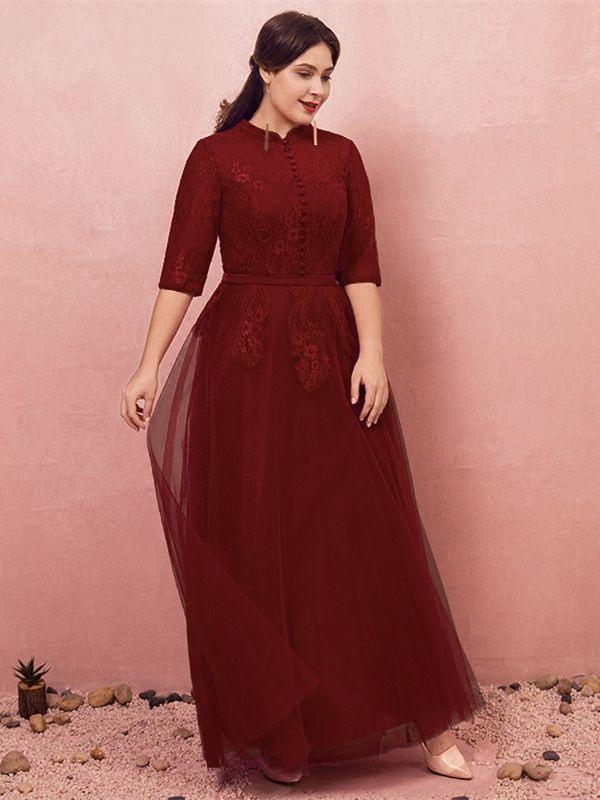 Abendkleid Abiballkleider Große Größen Hochgeschlossen