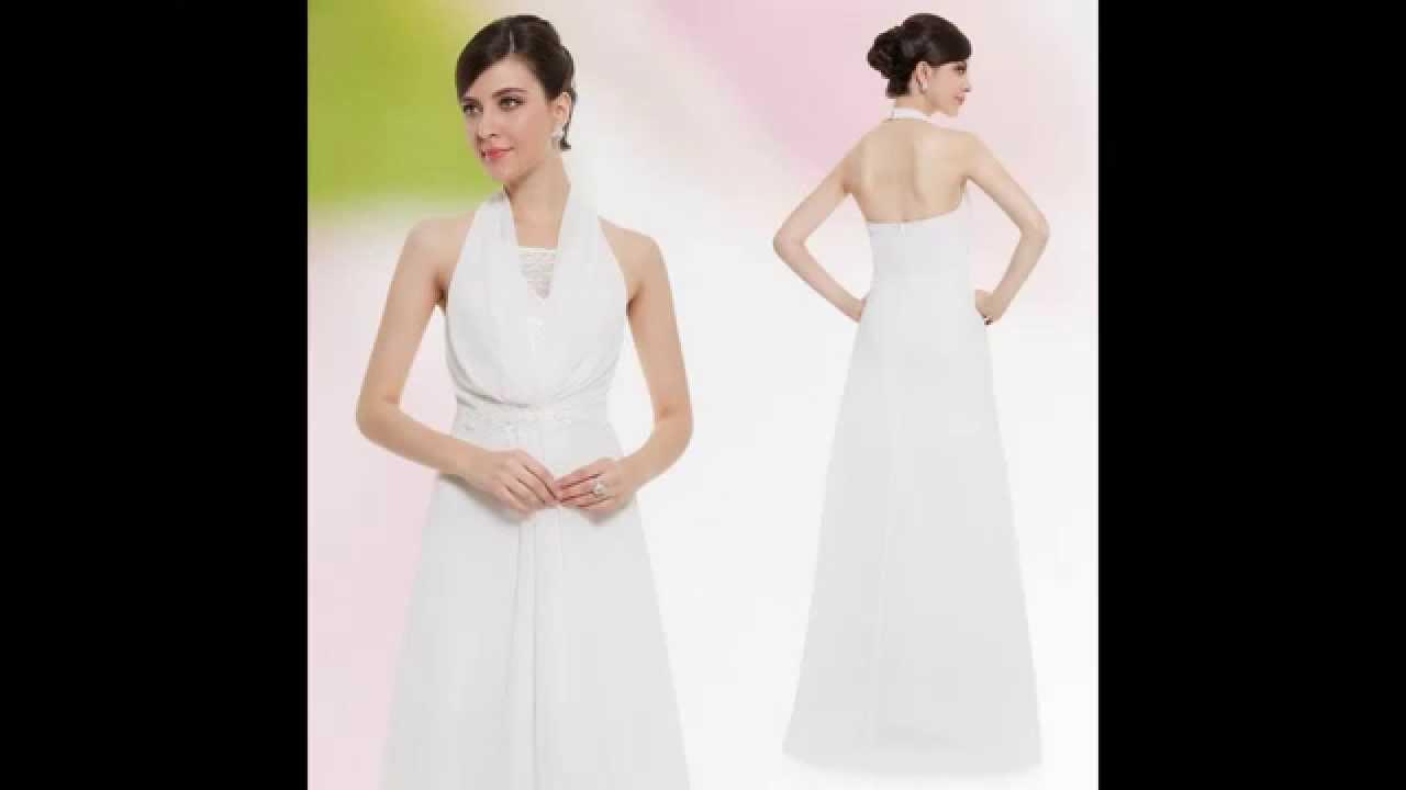 Abendkleid / Weißes Neckholder Kleid  Günstige