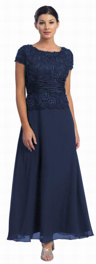 Abendkleid Xxl Mit Arm Brautmutter Dunkelblau Größe 50