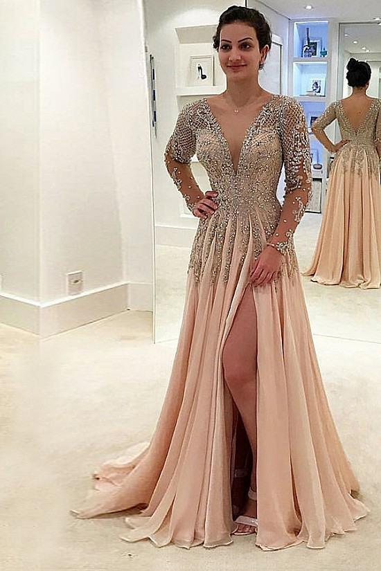 Abendkleider Günstig  Luxury Champagne Abendkleider Lang