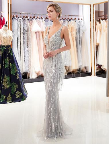 Abendkleider Luxus Vausschnitt Meerjungfrau Abendkleid