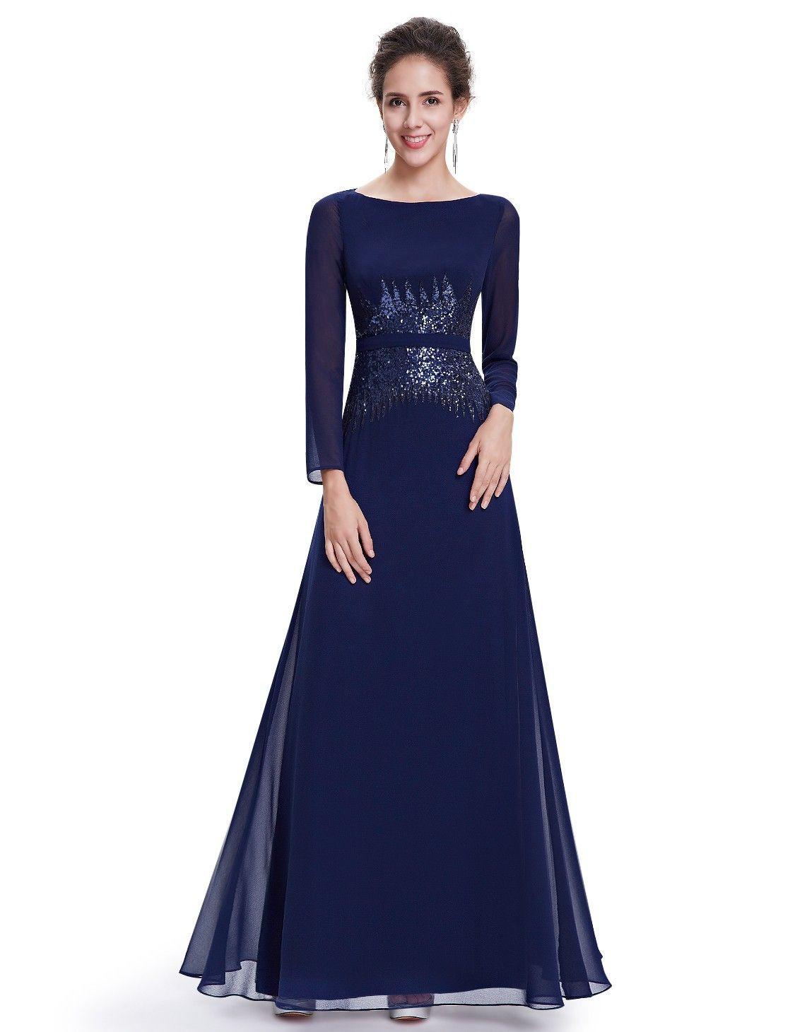 Abendmode / Langarm Abendkleid In Blau Mit Bildern