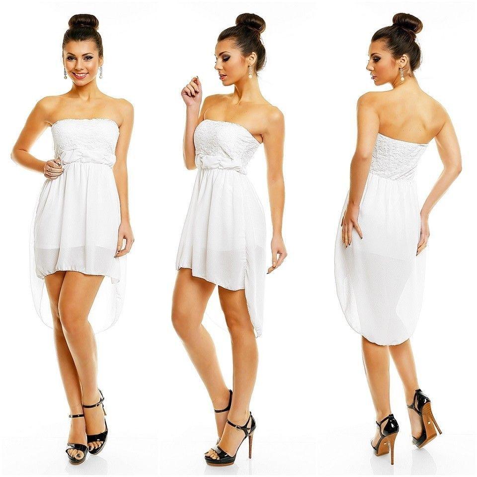 Abiballkleid Weiß Spitze Abendkleid Vorne Kurz Hinten Lang
