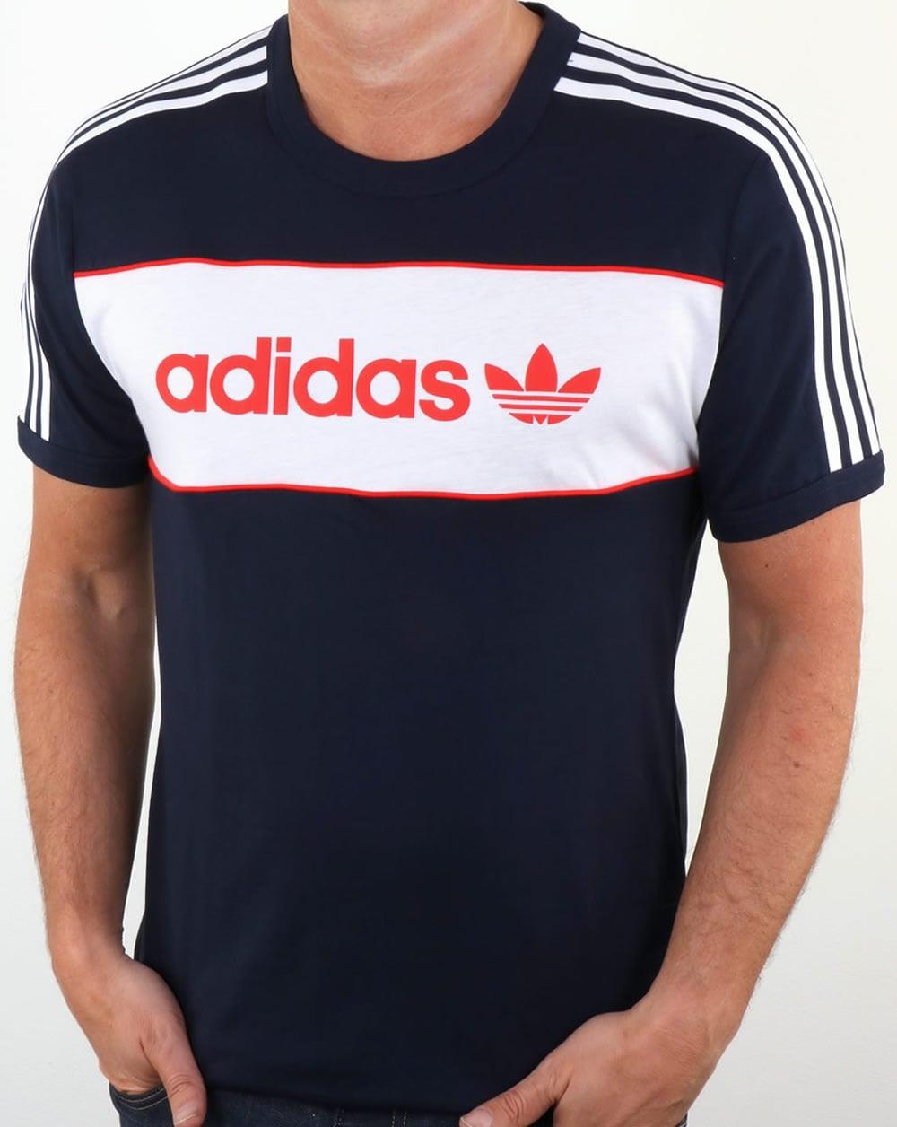 Adidas Originals Block T Shirt Navytrefoilcrew Necktee