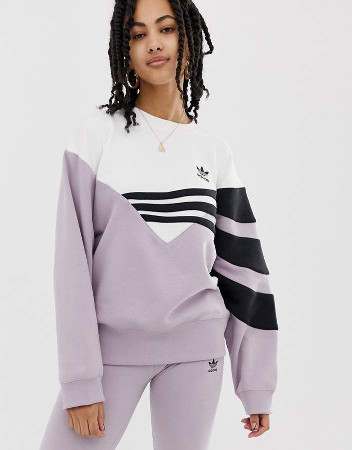 Adidas Originals Linear Sweater In Lilac And Black