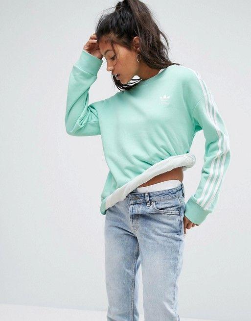 Adidas Originals Mint Three Stripe Sweatshirt  Striped