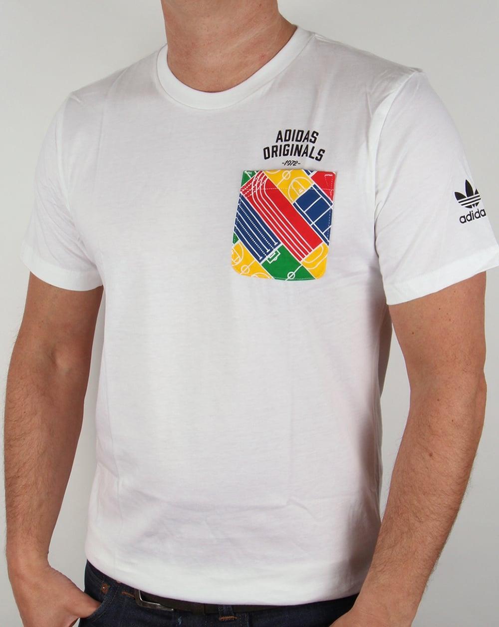 Adidas Originals Track Pocket Tshirt Whiteteemenscrewneck