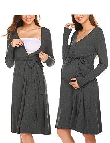 Adome Damen Nachthemd Stillkleid Umstandskleid