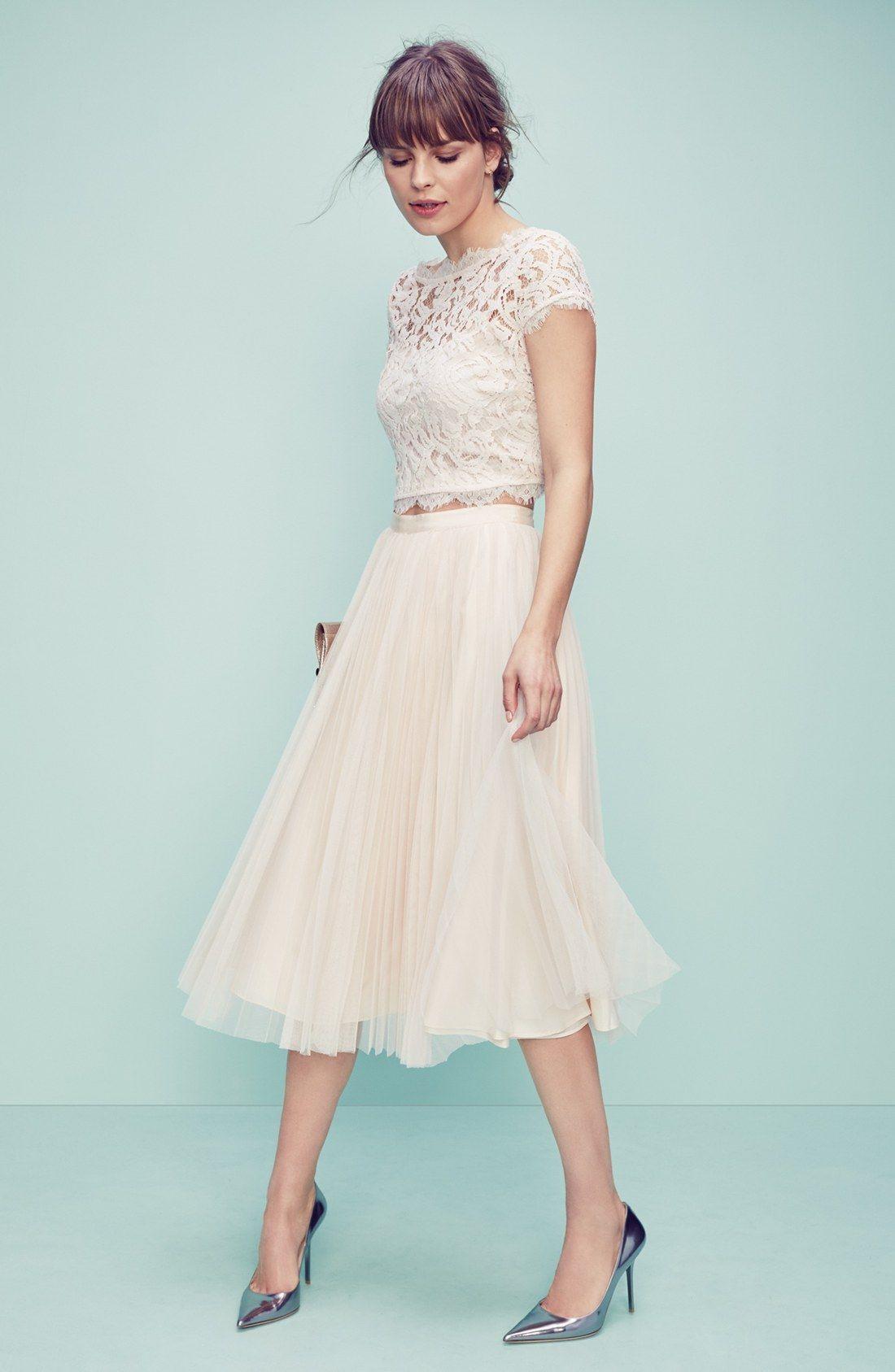 Adrianna Papell Lace Crop Top  Outfit Hochzeit Hochzeit