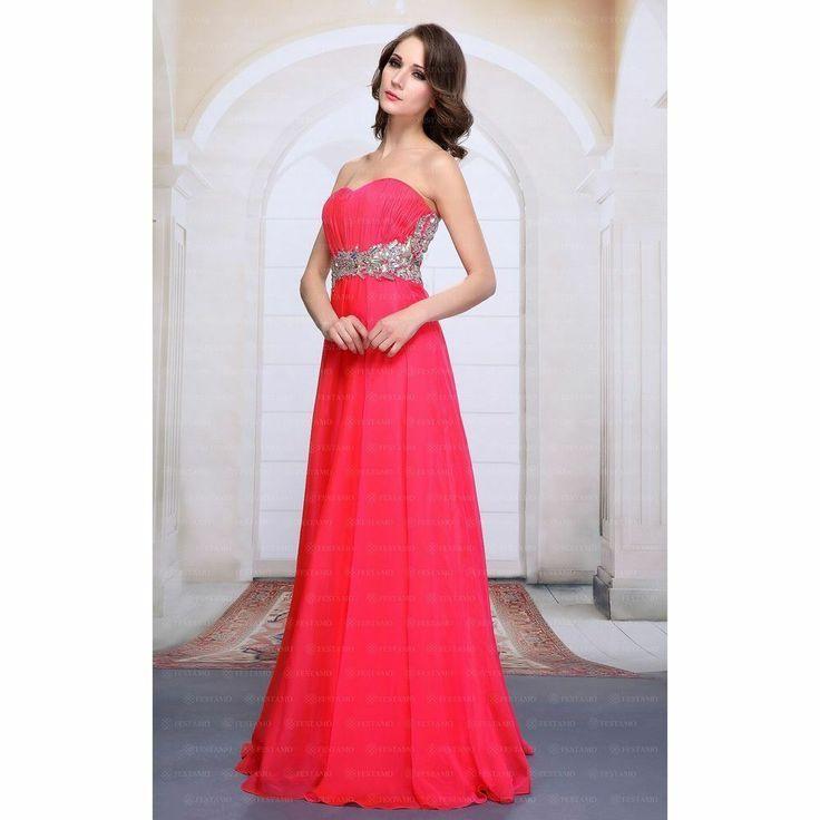 Aktuelle Damen Kleid Festamo Abendrobe Maxikleid 61122 Rot