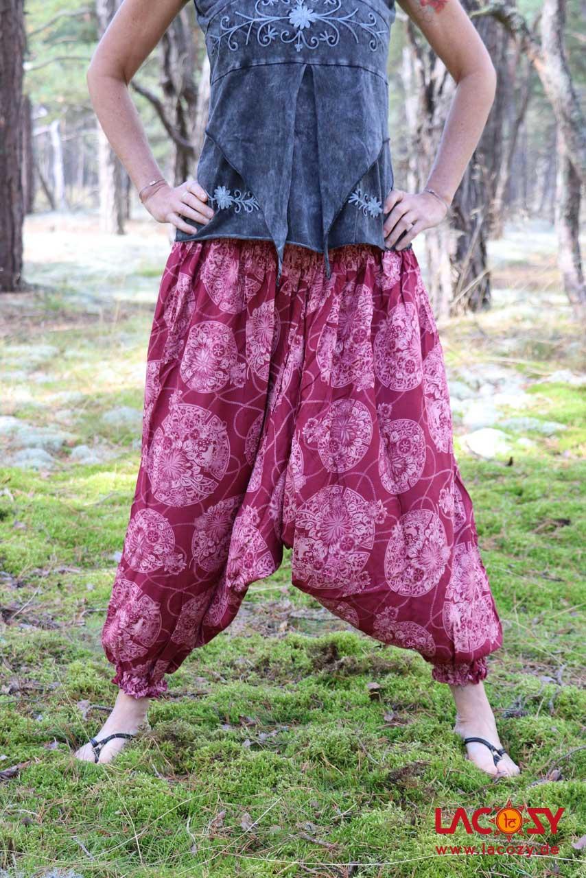 Alibaba Haremshose Hosenkleid Damen Bordeaux  Lacozy