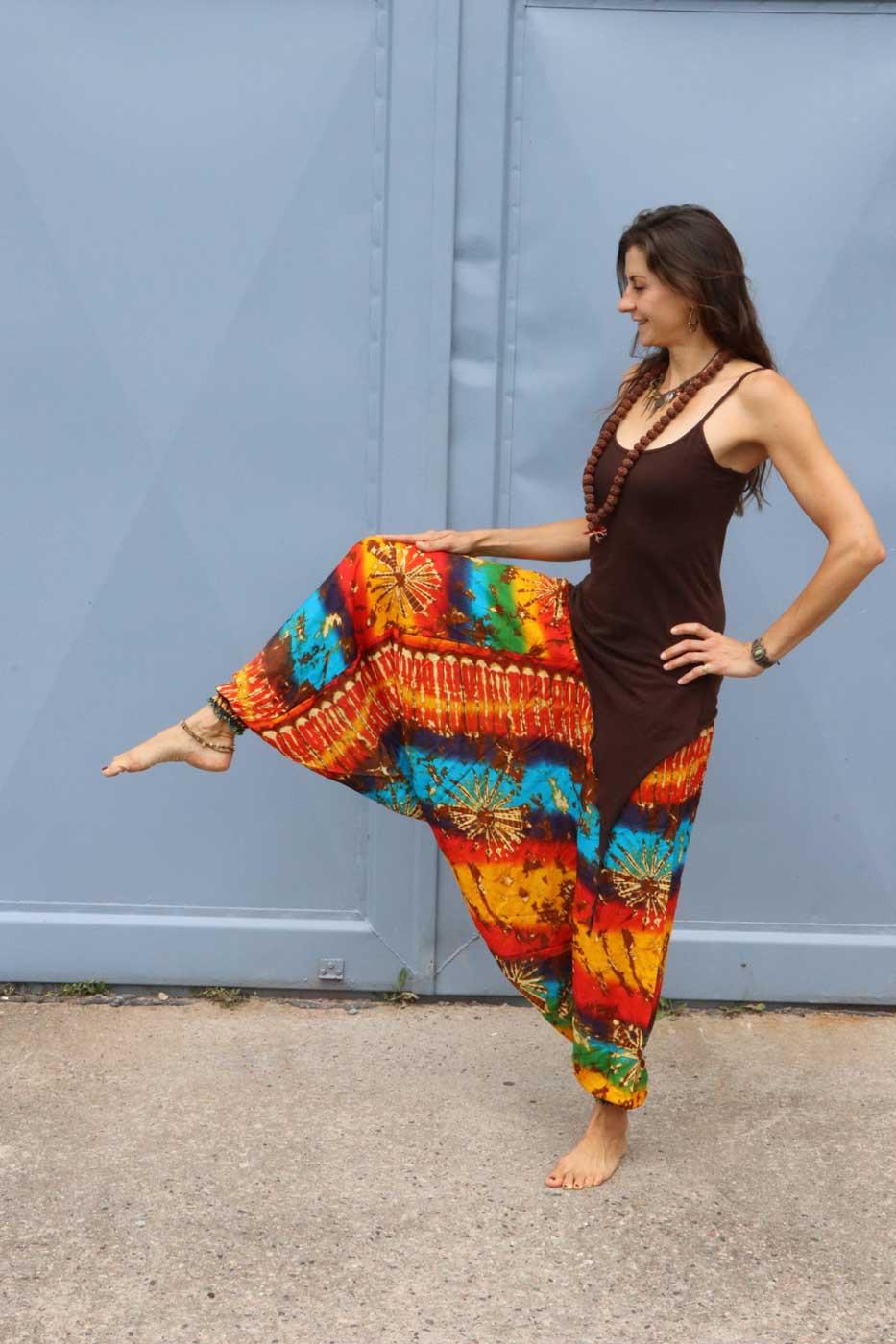 Alibaba Haremshose Hosenkleid Damen Regenbogen  Batik