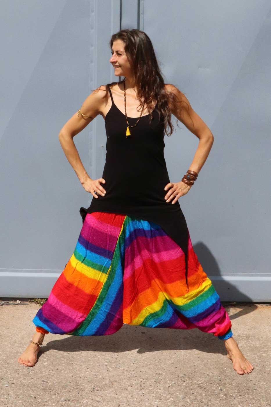 Alibaba Haremshose Hosenkleid Damen Regenbogen  Lacozy