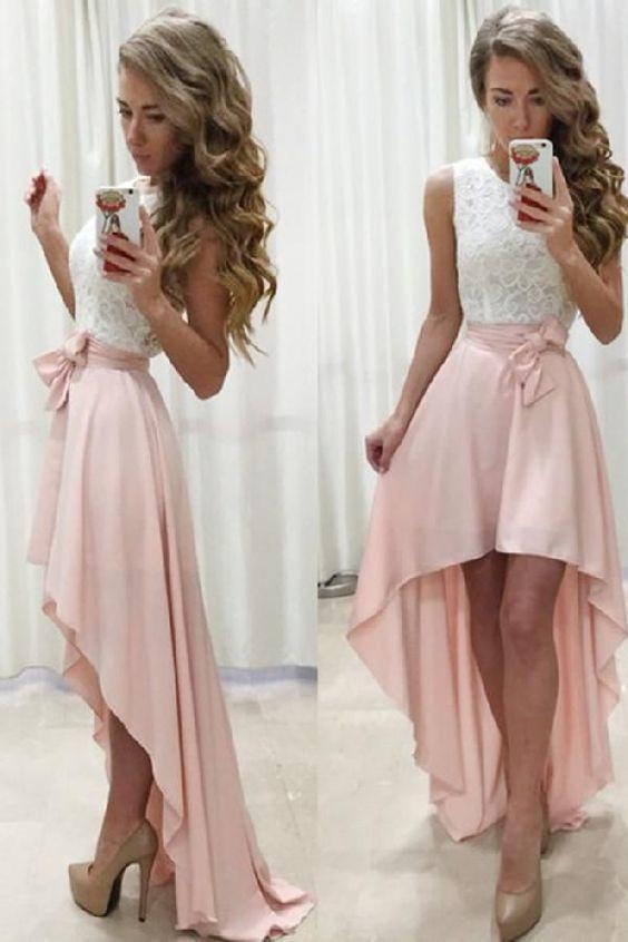 Aline Jewel Sleeveless High Low Pearl Pink Prom Dress