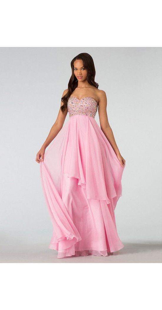 Alinie Bodenlang Chiffon Rosa Abendkleider Abiballkleider