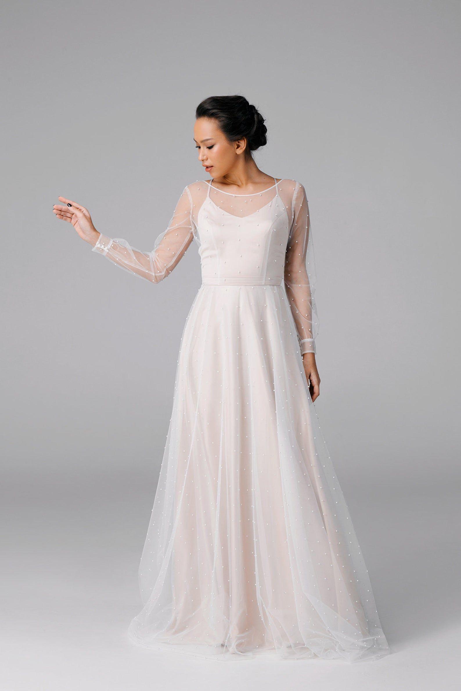 Alinie Einfaches Hochzeitskleid Langärmliges