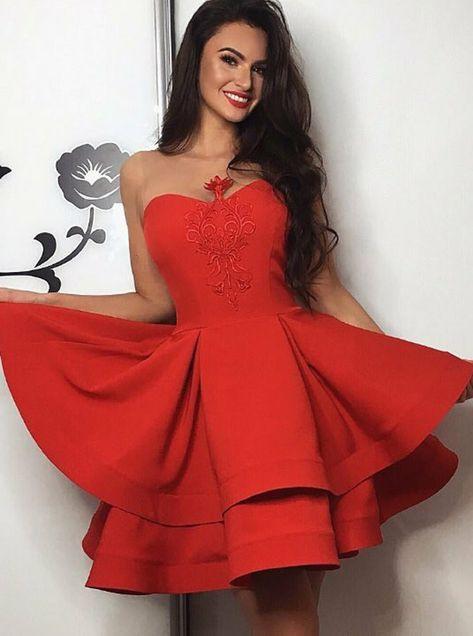 Alinie Herzausschnitt Rot Kurz Heimkehr Kleid Partykleid