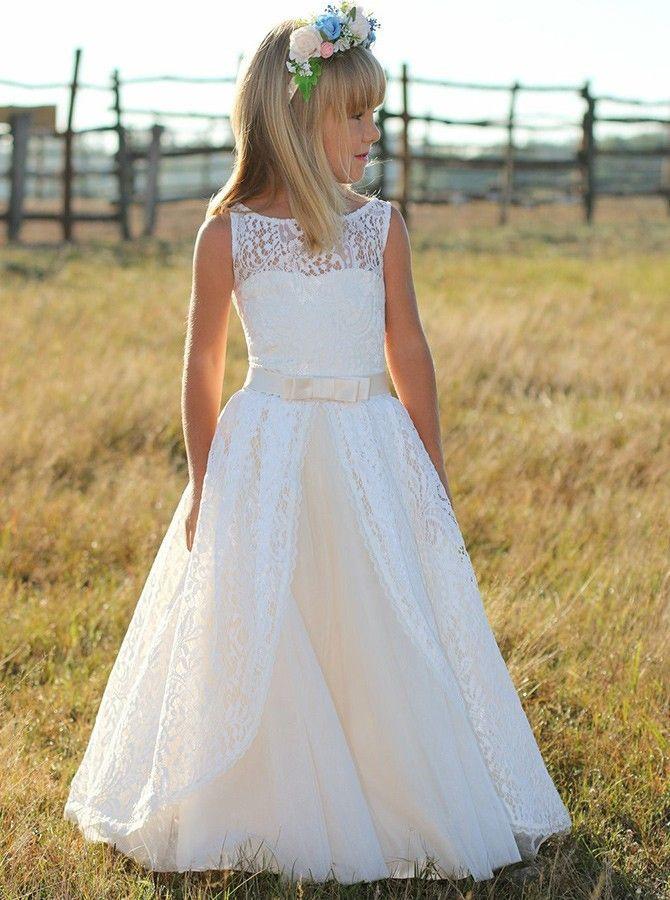 Alinie Rundhals Weiß Spitze Blumenmädchenkleid Mit