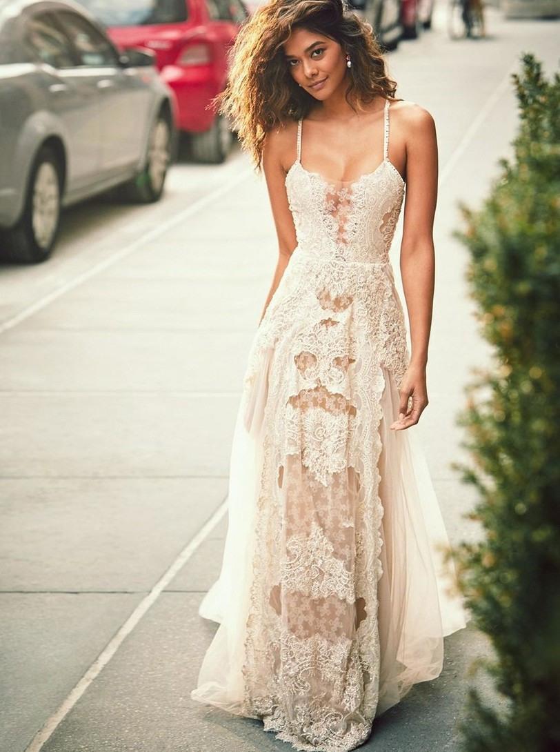 Alinie Spaghettiträger Boho Strand Hochzeitskleid Mit