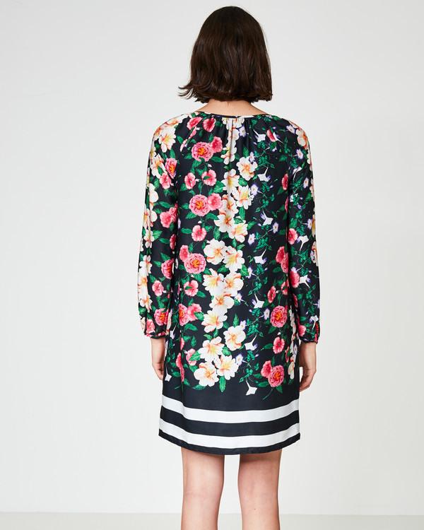 Alinienkleid Mit Blumendruck  Streifen Von Hallhuber