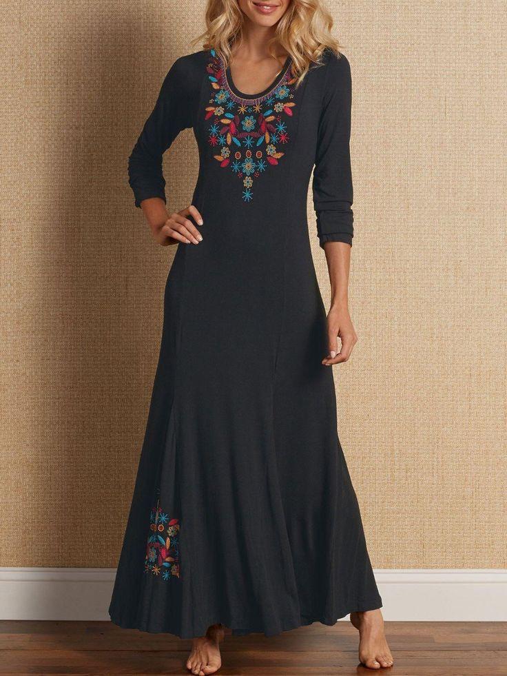 Alltägliches Langarm Besticktes Kleid Aus Baumwolle