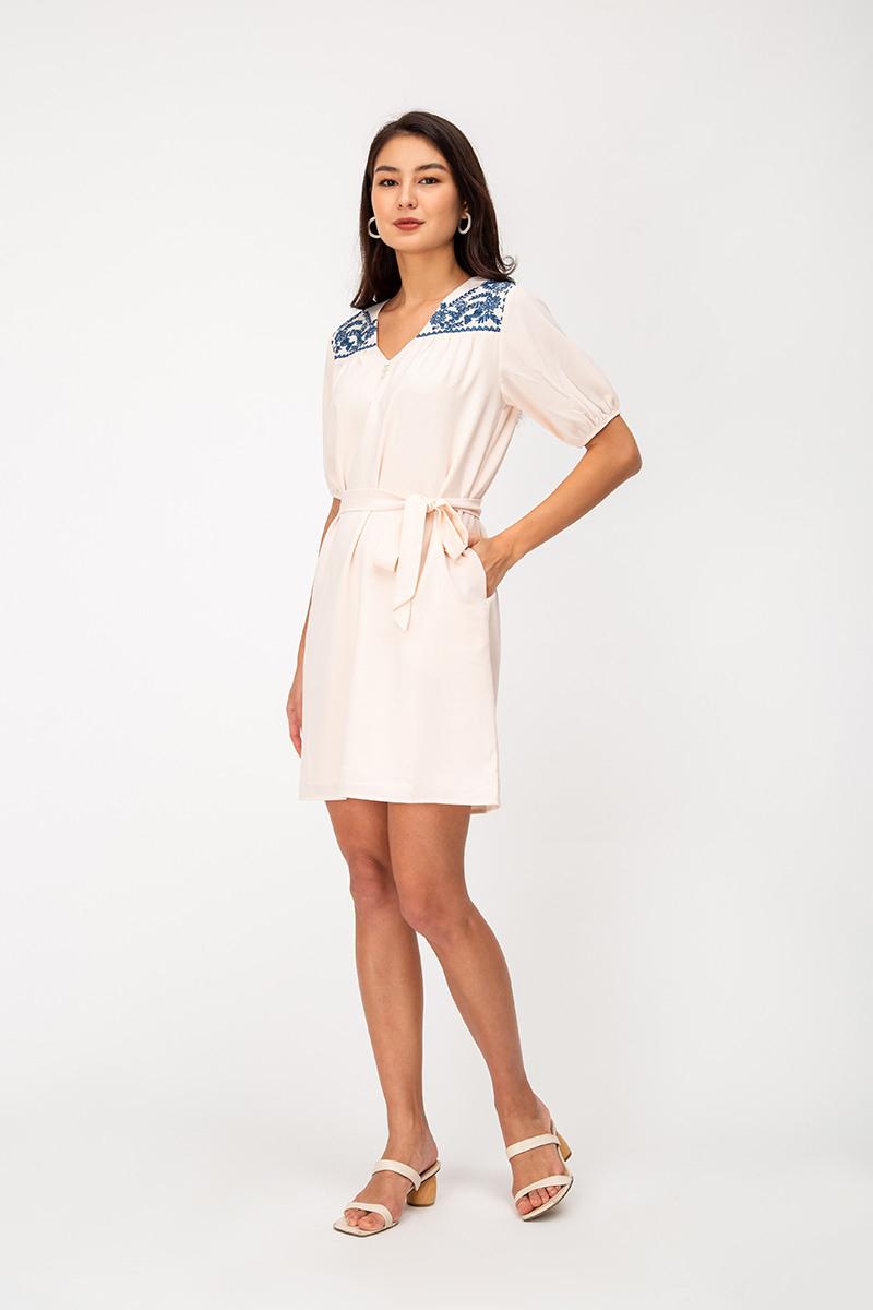Ambria Embroidery Dress W Sash  Love And Bravery