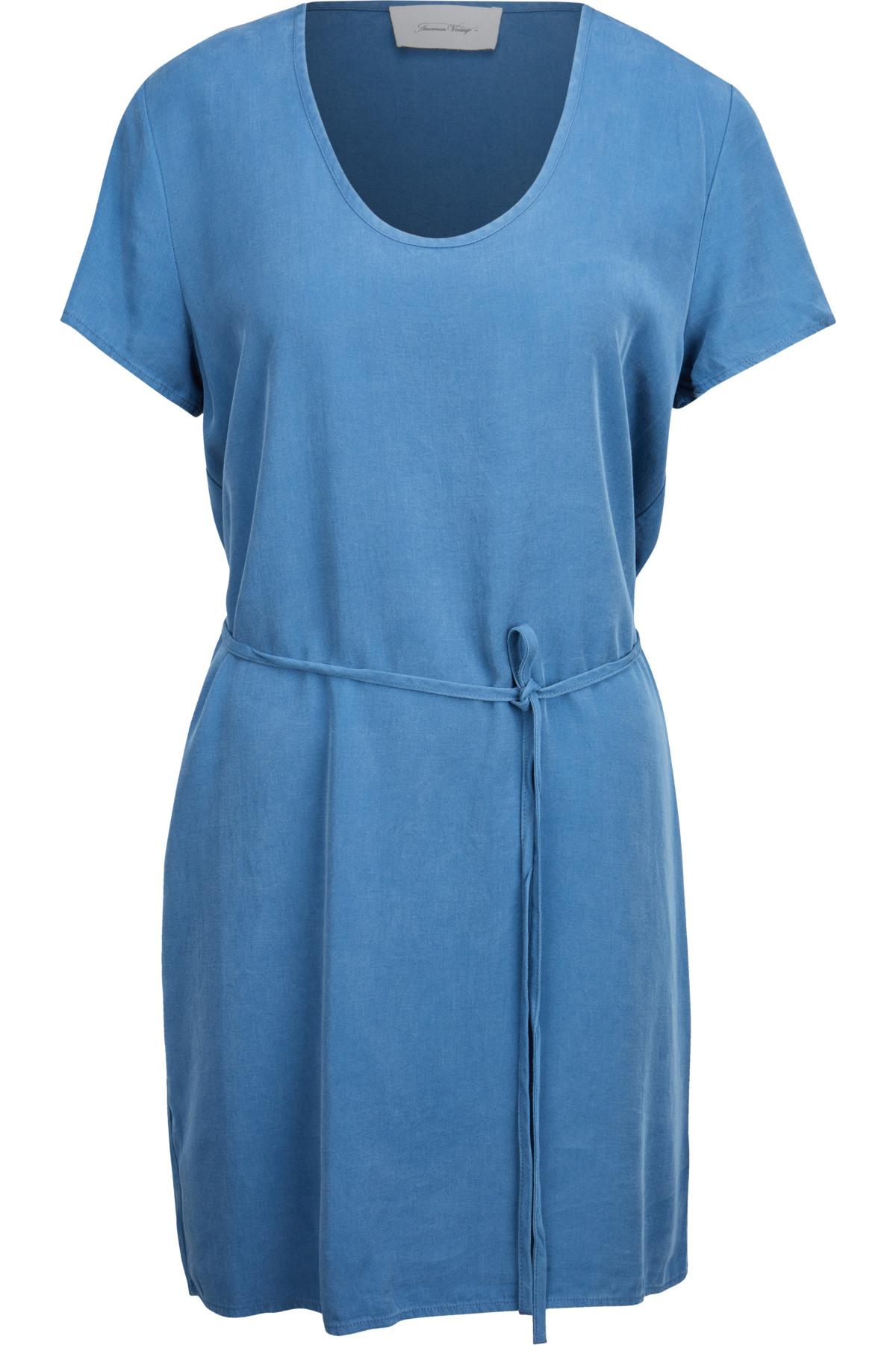 American Vintage Minikleid Aus Lyocell In Blau 432388