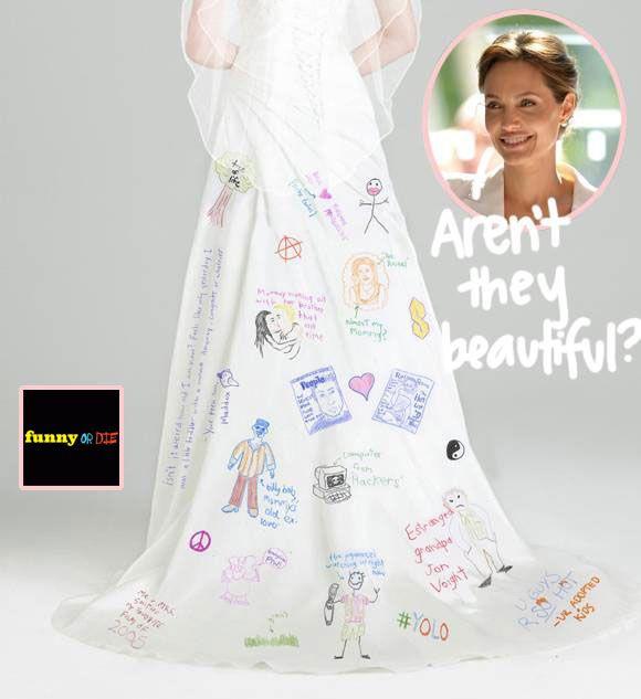 Angelina Jolie Wedding Dress Designs Up Close1  Funny