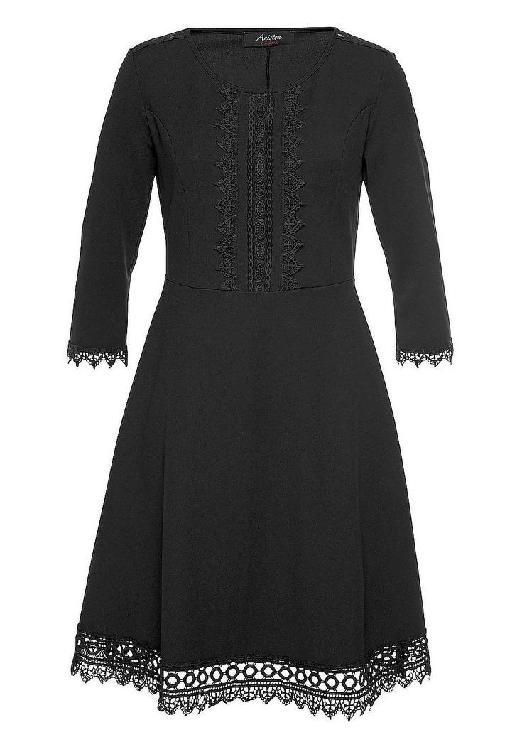 Aniston Casual Spitzenkleid  Lässige Schwarze Kleider