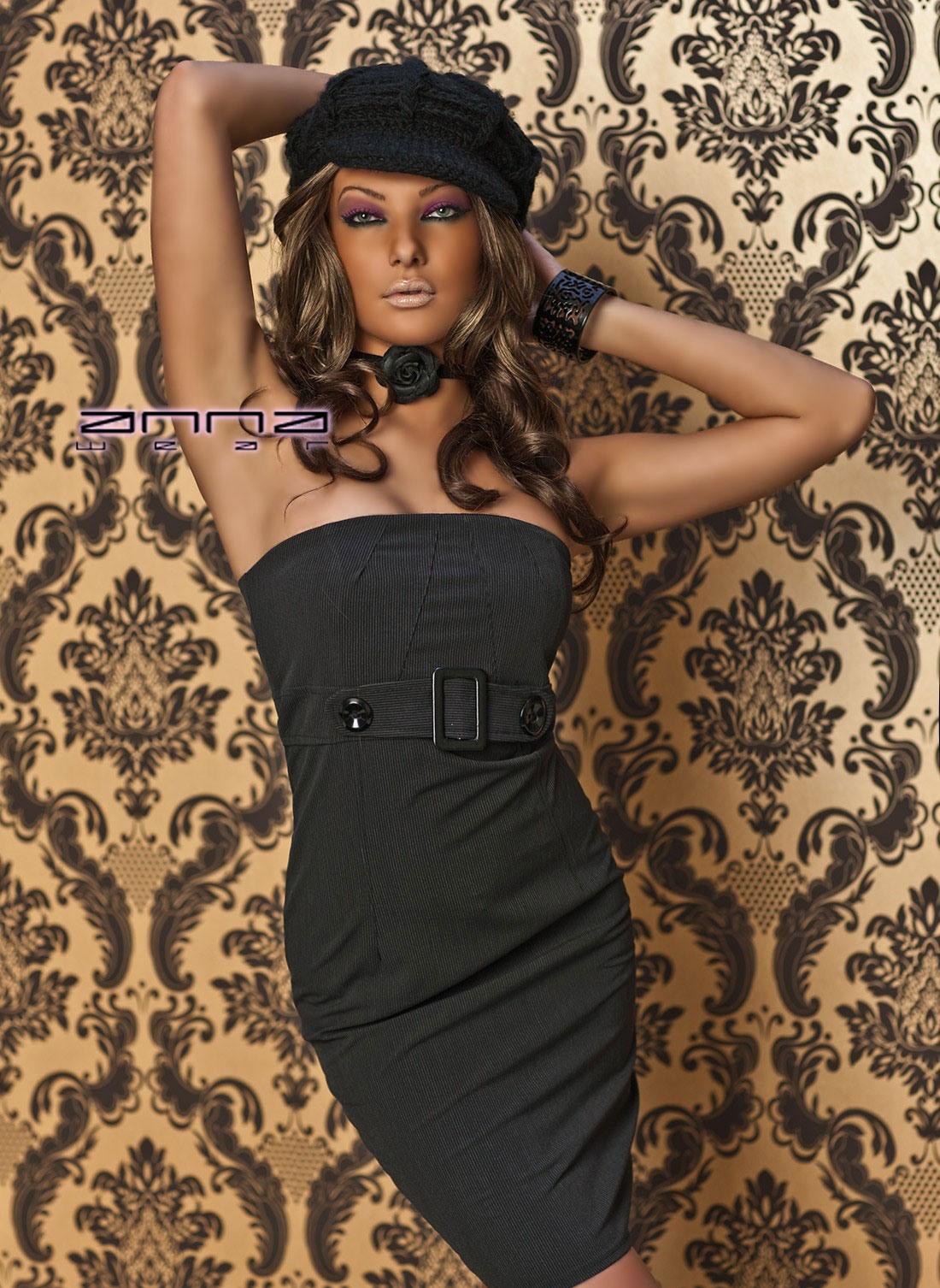 Annawear  Trägerloses Kleid Schwarz