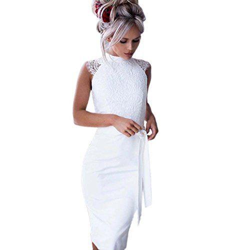 Ansenesna Kleid Damen Elegant Für Hochzeit Knielang